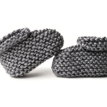 Knit Baby Booties - Baby Clothes - Baby Girl or Boy - Gender Neutral Grey Gray Soft Socks