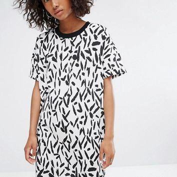 Noisy May Contrast Collar Print Dress at asos.com