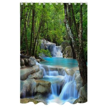 72 Inch Bathroom Shower Curtains Polyester Fabric Waterfalls Nature Scenery Curtain Waterproof Shower Curtain with 12 Hooks