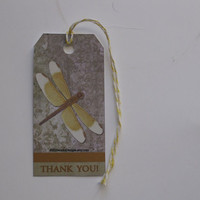 5 Die Cut Dragonfly Thank You Tags