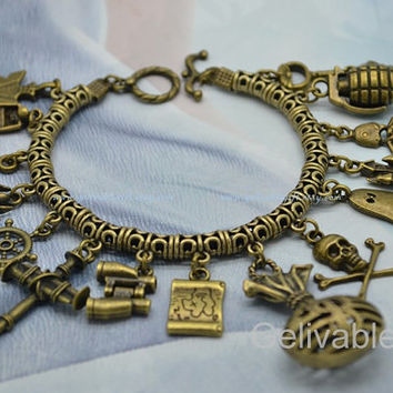 Steampunk Adventure Charms Bracelet,antique brass treasure hunt theme charm bracelet with arrow,boat,compass,Treasure Map,skull charms BTH01