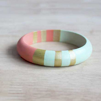 mint, coral, gold hand painted wooden bangle - 15 mm wide // eco-friendly tribal inspired jewelry for her