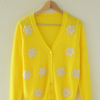Yellow Long Sleeve Beaded Embroidered Knitted Cardigan