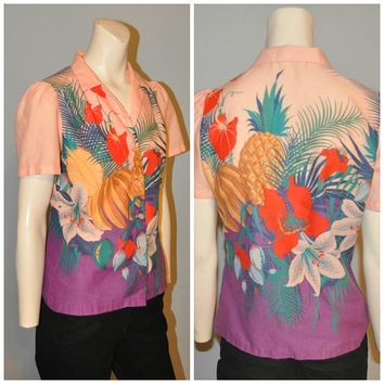 Vintage 1980's Fruit Floral Print Button-Down Blouse Shirt Short Sleeve Hawaiian Pink and Purple Women's Top Tropical Bananas Pineapple
