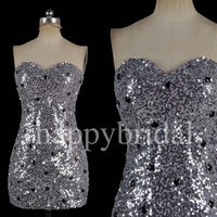 Lovely Sweetheart Gray Sequined Prom Dresses Sheath Bridesmaid Dresses Party Dresses 2014 Weddong Occasions