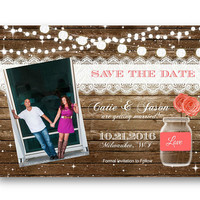 Coral Save the Date Rustic wood and mason jar with string of lights photo invitation invite card 5x7 printed or printable