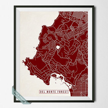 Del Monte Forest Map, California Poster, Del Monte Forest Poster, Del Monte Forest Print, California Print, Street Map, Wall Art