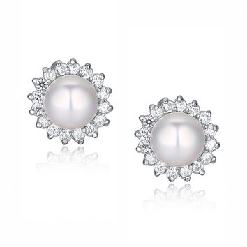 Round Shell Pearl W. Cubic Zirconia Halo Stud Earrings