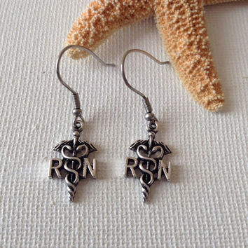 RN earrings, nickel free ear wires, registered nurse earrings, medical professionals, nurse gifts, medical gifts