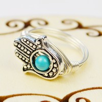 Hamsa Hand and Turquoise Howlite Gemstone Sterling Silver Wire Wrapped Ring- Custom made to size 4-14