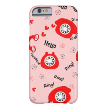 Fun Ditsy Red Love Hearts and Vintage Phones Barely There iPhone 6 Case