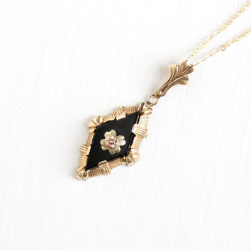 Vintage 10k Gold Onyx Flower Lavalier Pendant Necklace - Vintage 1930s Esemco Floral Three Tone Yellow, Rose, and Green Gold Fine Jewelry