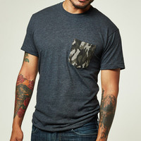 Camo Print Pocket on Grey Heather Tee