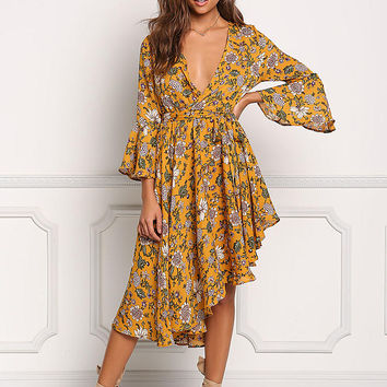 Mustard Plunge Floral Asymmetrical Faux Wrap Dress