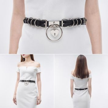 Leather Metal Buckle Belts Waist Handmade Design Love Heart Lock Chain Punk Goth Women Waist Belt Body Accessory 3 Colors