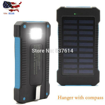 Waterproof 100000Mah Solar Power Bank Solar Charger Dual USB Power Bank with LED Light for iPhone Samsung Android Phone