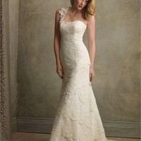 Best Seller One-shoulder Strapless Lace Style Small Train Wedding Dress WD1801