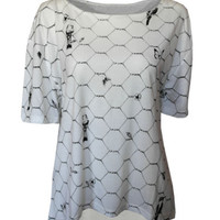 Birds Butterflies, flowers on wire print top Tshirt womens ladies oversized | eBay