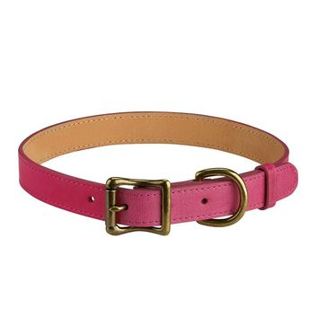 Personalized Dog Collar Italian Leather | Pink