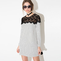 Black and White Striped Dress with Lace Embroidered