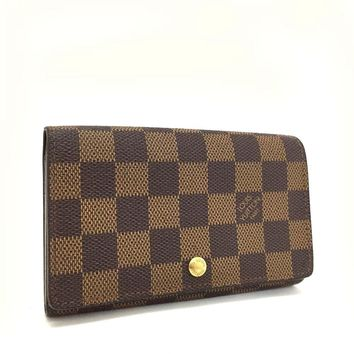 Authentic Louis Vuitton Damier Porte Monnaie Billets Tresor Bifold Wallet /d786