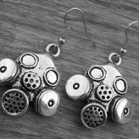 Gas Mask Earrings Gasmask Earrings Steampunk Neo Victorian Gothic Zombie Apocalypse Cyber Goth Doctor Who Silver Gas Mask Jewelry Gasmask
