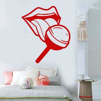Vinyl Wall Decal Sexy Hot Girl Lips Tongue Candy Lollipop In Mouth Stickers (2169ig)