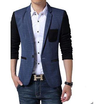 Men Blazer Fashion Patchwork Slim Fit Men Blazer High Quality Casual Suit Jacket
