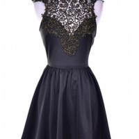 Black Elegance Party Dress with Black and Gold Shimmer Lace Detail