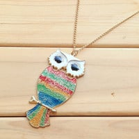 Colorful Owl Pendant Necklace,Long Girls Necklace,Cute Necklace