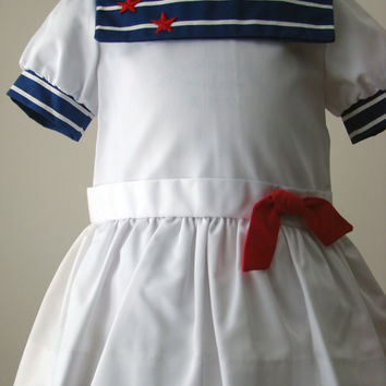 Girls Sailor Dress with Dropped Waist in White with Navy Collar - size 2T