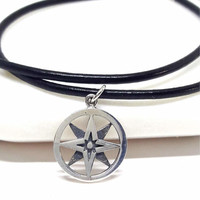Compass Necklace Sterling Silver Compass Star Pendant Small Silver Charm Graduation Gift Minimalist