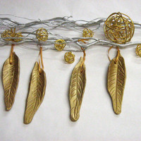 pottery ornaments  feather  modern and minimalist 4 gold clay