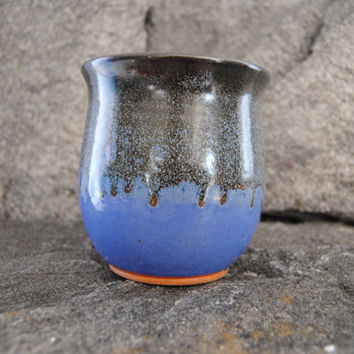 Blue and black pottery vase, stoneware flower vase, pottery home decor