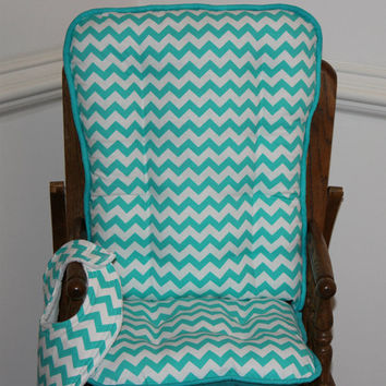 Aqua Chevron High Chair Cushions