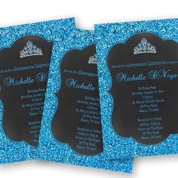 Chalk Tiara Blue Sweet 16 Invitations - Blue Glitter Sweet 16 Invitation  - Princess Bright Blue Birthday Invitations - Teen Girl Birthday