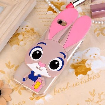 "3D Rabbit Teddy Bear Soft Silicone Case For ASUS ZenFone 4 Selfie ZD553KL 5.5"" Phone Cover Cartoon Minnie Mouse Funda Fashion"
