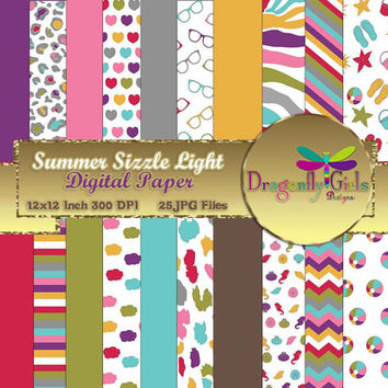 80% OFF Sale Summer Sizzle Light Version,digital paper,commercial use,scrapbook papers,background,flowers,clouds Seashells, Chevron