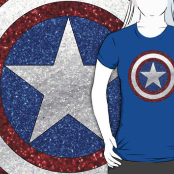 Captain America Glitter Style Graphic Royal Blue T-Shirt:  MENS + WOMANS