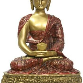 Amitabha Buddha of Infinite Light Statue, Gold and Red 12H