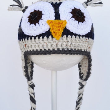 Crochet Owl Hat, Toddler, Ready to Ship