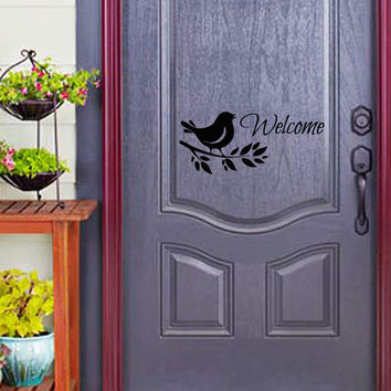 Welcome Decals Words Bird On Branch Home Design Welcome Lettering for Door Vinyl Decal Sticker Front Door Decor Outdoor Decorations kk787