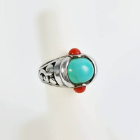 Turquoise and Coral Ring Size 5 - Sterling Turquoise Ring - Vintage Turquoise Ring - Open Scroll Work Sterling Ring