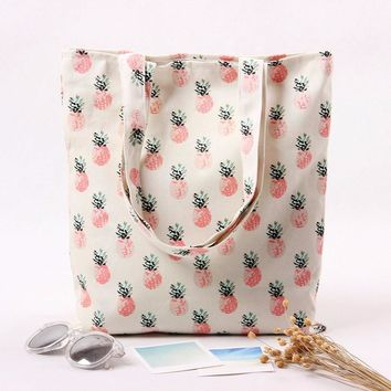 Women Shoulder Bag Pineapple Pattern Canvas Casual Tote Handbag Large Shopping Bag sac cabas femme *7710