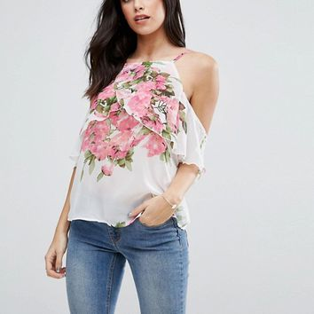 AX Paris Frill Sleeve Floral Cami Top at asos.com