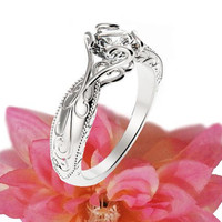 Solitaire Ring Unique Claw Design Engraved Engagement Ring 14K or 18K White Gold