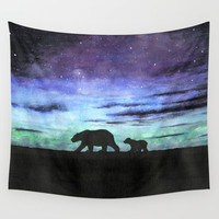 Aurora borealis and polar bears (black version) Wall Tapestry by Savousepate