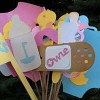 Photo booth props:  pink blue and yellows 19 pc
