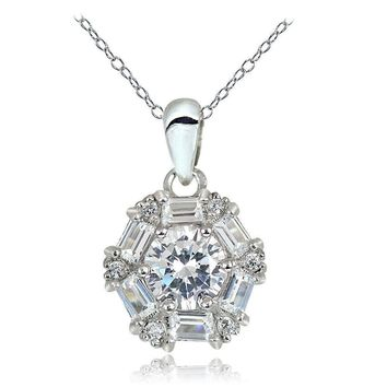 Sterling Silver 2.2ct Cubic Zicronia Baguette-Cut Flower Necklace