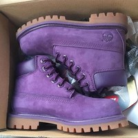 Tagre Timberland boots for men and women shoes waterproof Martin boots lovers Purple